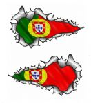 X-Large Long Pair Ripped Torn Metal Design With Portugal Portuguese Flag Motif External Vinyl Car Sticker 300x170mm each